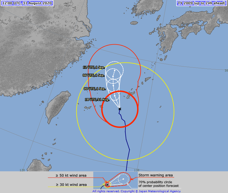 ⚠️ ⚠️ ⚠️ TYPHOON #MAYSAK #10W 31/1200Z 25.0°N 127.2°E, moving NNW 11kt. Max sus wind 85kt, gusts to 120kt. 950hPa (RSMC Tokyo)   CAT3 storm on the Saffir Simpson Hurricane Wind Scale, expected to become CAT4 by 1 Sep, 6:00 (TSR UCL London data)  >>>https://t.co/EET5VsvnOH https://t.co/pXNyNJuEaS