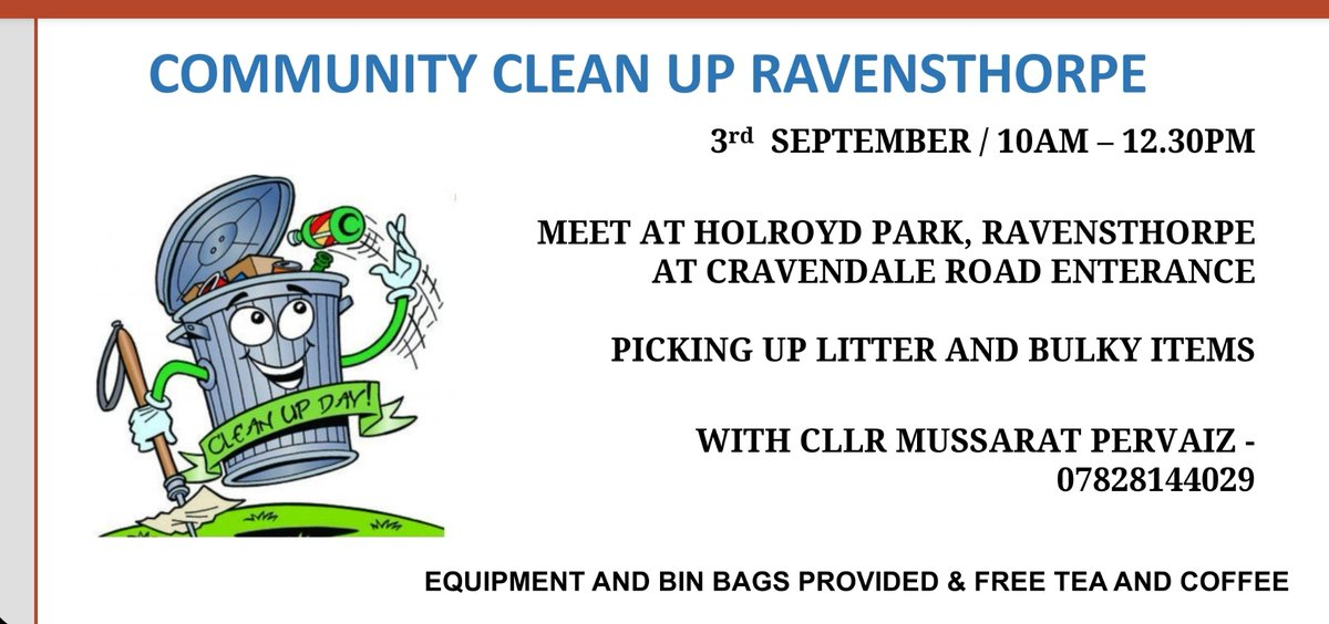 Voluntary community clean up in Holroyd park ravensthrope  3rd of  September  #keeptidy @DarrenODonovan3 https://t.co/yGpDrydUwr