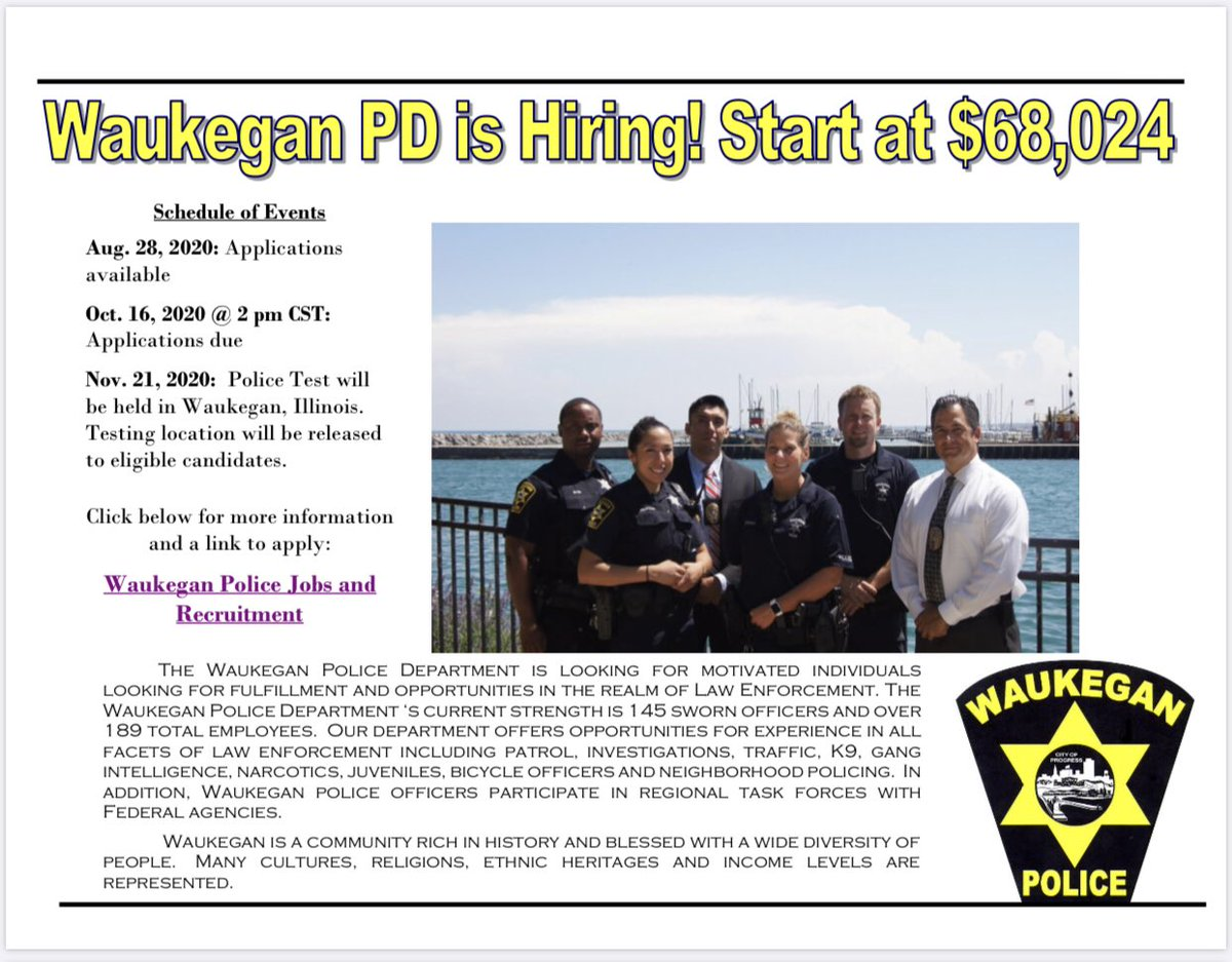 The Waukegan Police Department is hiring!   Applications became available August 28, 2020, and are due by October 16, 2020 at 2:00pm CST.   More information and application are available at: https://t.co/TPgOMBMUDL https://t.co/vEd2cnpX1D