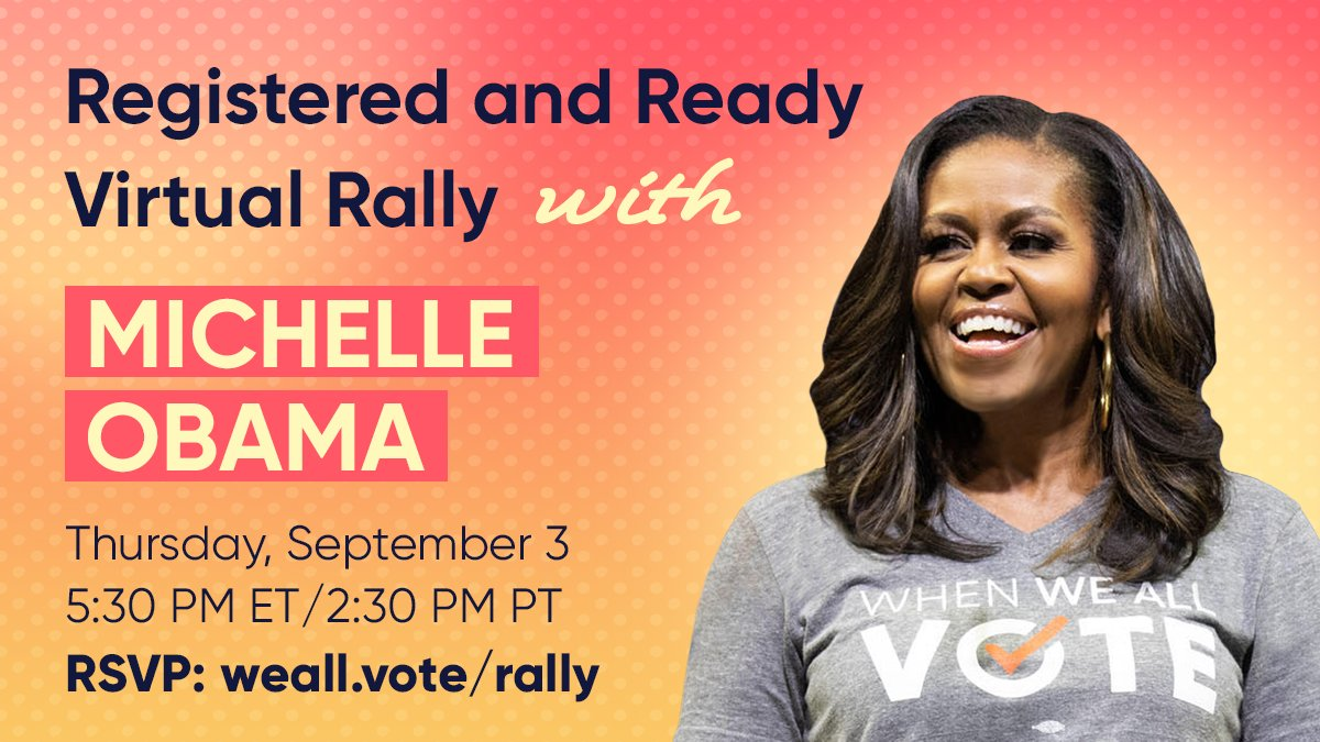 We're just weeks away from the first voter registration deadlines, and we need your help to make sure every eligible voter is registered.  Get involved and join the Registered and Ready Virtual Rally with @MichelleObama this Thursday.  RSVP: https://t.co/kUa3hhotUB https://t.co/2J3lucI1NV