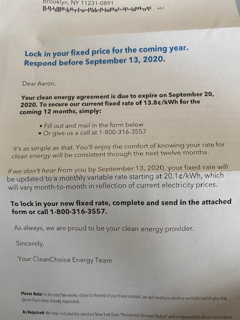 Now back to my renewal notice, it says nothing of my current rate. Only says I have opportunity for new rate of 13.8 cents/kWh. That's a 21% increase on my current bill! But it gets worse if I don't mail back this form my new rate will be 20.1 cents/kWh, A 76% increase! 5/