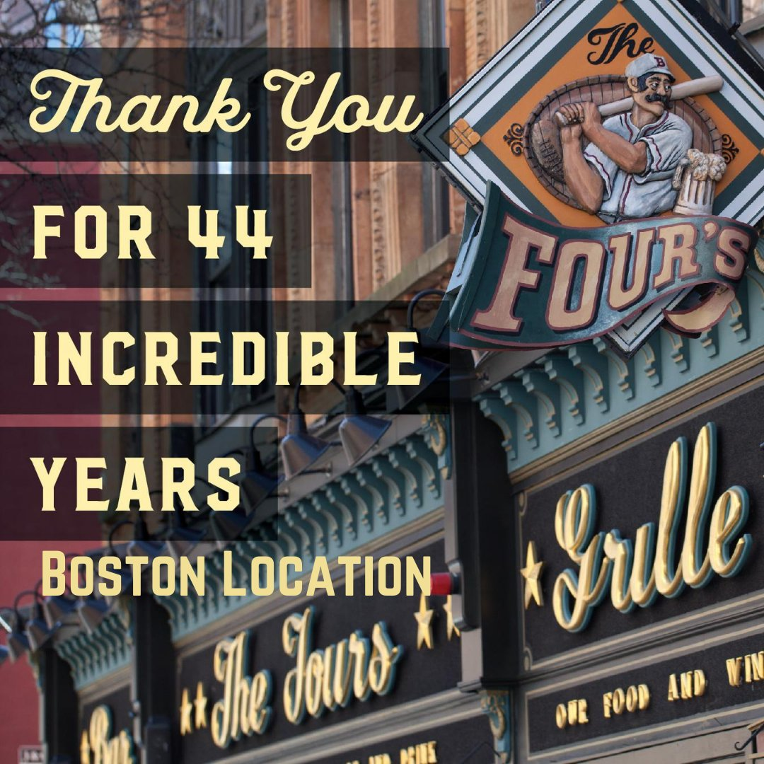 It is with heavy hearts that we announce the permanent closure of The Fours Boston as of Monday, August 31st. Please read a statement from our Management: https://t.co/1O3thL0wa6 https://t.co/FEg8CVTvgi