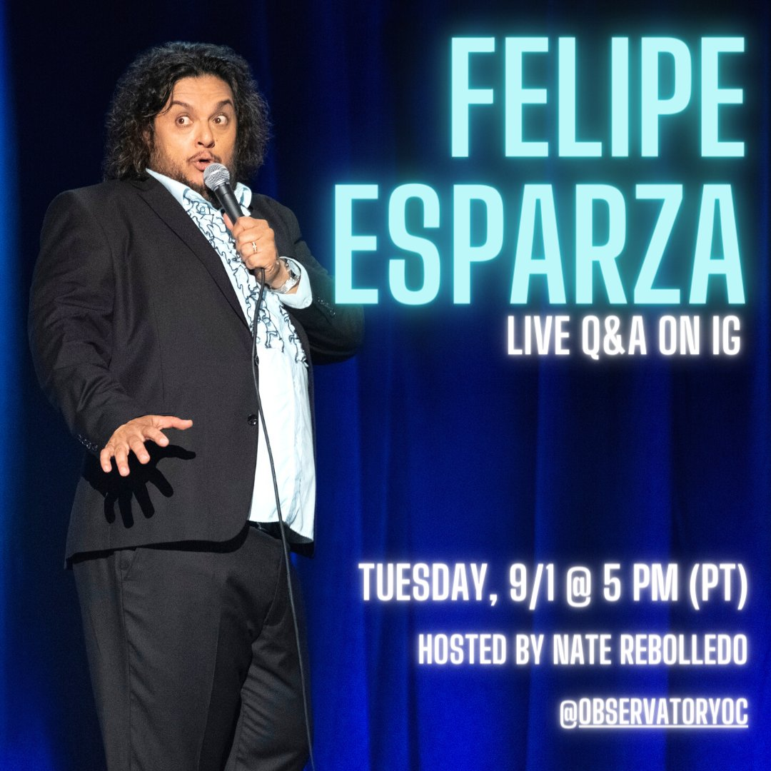 """TOMORROW! 💥 Our friends at @ObservatoryOC go live on IG w/ @funnyfelipe to discuss his two new @Netflix specials """"Bad Decisions"""" & """"Malas Decisiones"""" 🎤 Tune in at 5pm PT for the fun! https://t.co/cuQH935yqF"""