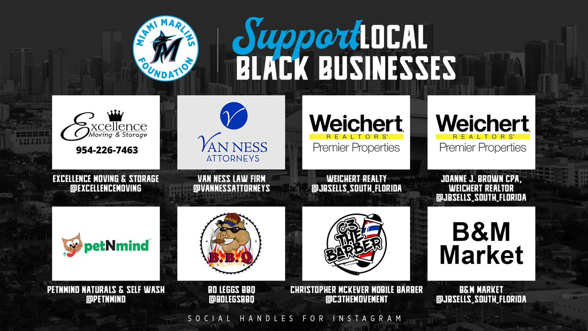 Join us in supporting local black owned businesses from members of our community. 🖤 #MarlinsImpact // #JuntosMiami