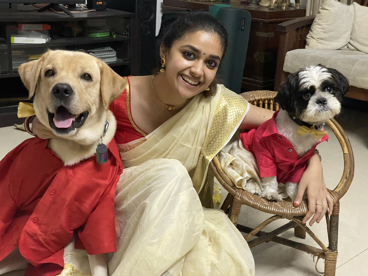 From my puppers and I, to you and your family, ഓണാശംസകൾ! ☺️🌼  #Onam2020 #Onam https://t.co/smr48q8CVP