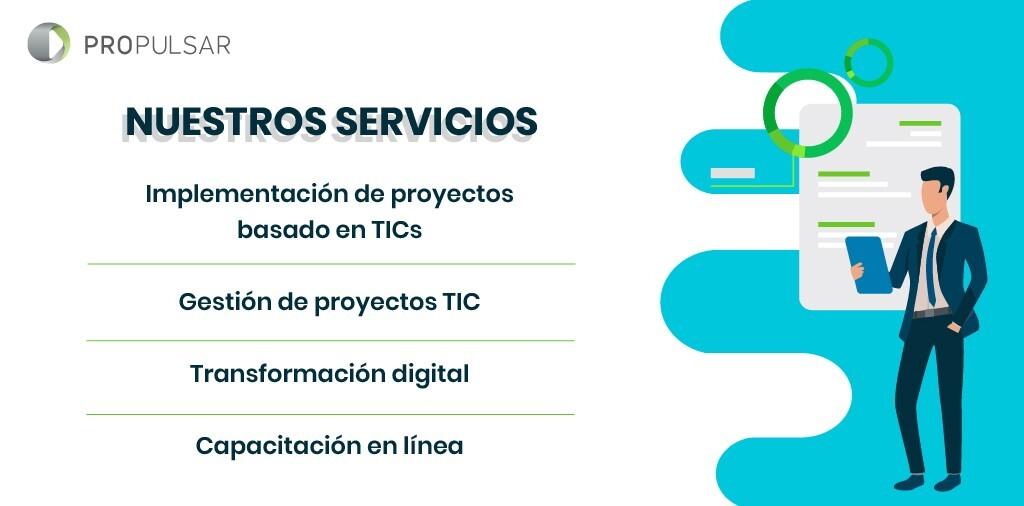 Somos una consultoría que cuenta  con amplia experiencia en gestión de proyectos para potenciar las capacidades digitales de una empresa.  Te compartimos algunos de nuestros servicios ¡Envía DM si te interesa conocer más de nosotros!  #PoliticasPublicas #TICs  #consultoriaonline https://t.co/Re0XLlFlKK