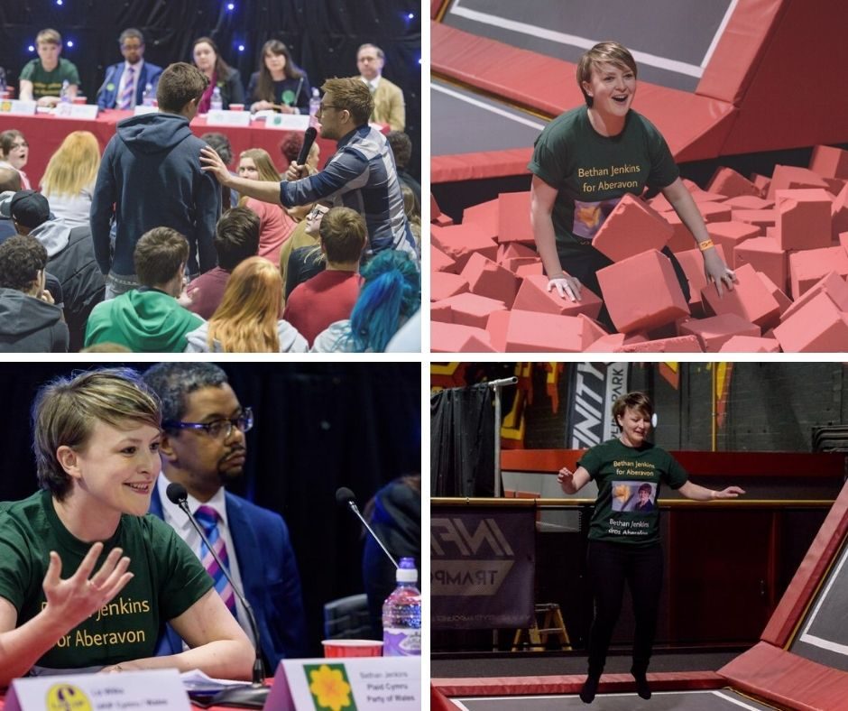 Thank you @bethanjenkins for all that you have done to support young people in Wales. Now you are stepping down we just had to find the photos of you engaging with young people at the 2016 'Not the Usual Hustings' event held at @InfinityTpark #Diolch #youthworkwales  #votesat16 https://t.co/65vThKVIiQ
