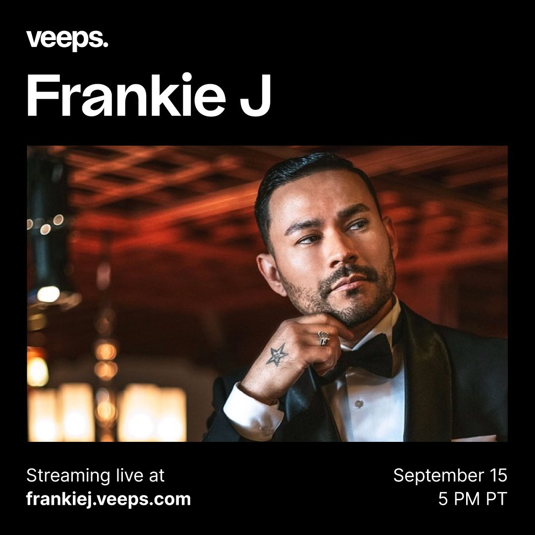 ON SALE NOW: @therealfrankieJ is headed to Veeps on 9/15! Get your tickets for Canciones Que Recuerdo En Vivo now at https://t.co/DmUrrdolDL! 🎤🎶🇲🇽 #FrankieJ #Livestream #Veeps https://t.co/zhQYPjuspZ