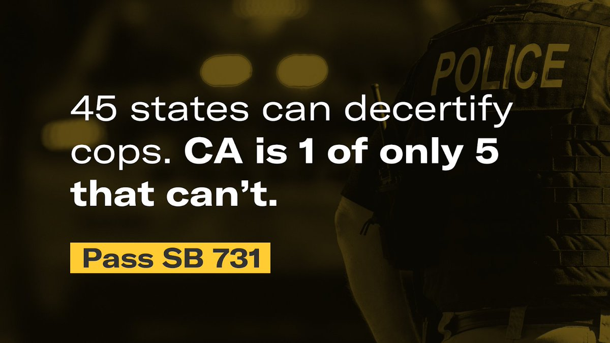 Don't let abusive cops simply transfer throughout the state and stay on the streets. We are calling on you LA leaders: @Asm_Nazarian @AsmCarrillo @AsmJesseGabriel @AsmLuzRivas @AsmEdChau @AsmBlancaRubio  Vote YES on #SB731 and  #DecertifyPolice https://t.co/sVX6DIBI7U