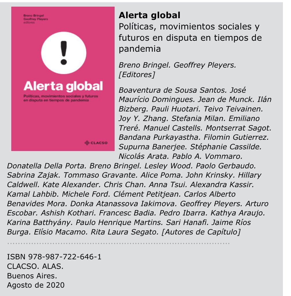 """Teivo Teivainen on Twitter: """"Nuevo libro #AlertaGlobal sobre #pandemia y # movimientossociales. Autores importantes (y algunos otros también como  @PauliHuotari y yo). Publicado por @_CLACSO, se puede descargar libremente  aquí: https://t.co/JfG3uF7tkm ..."""