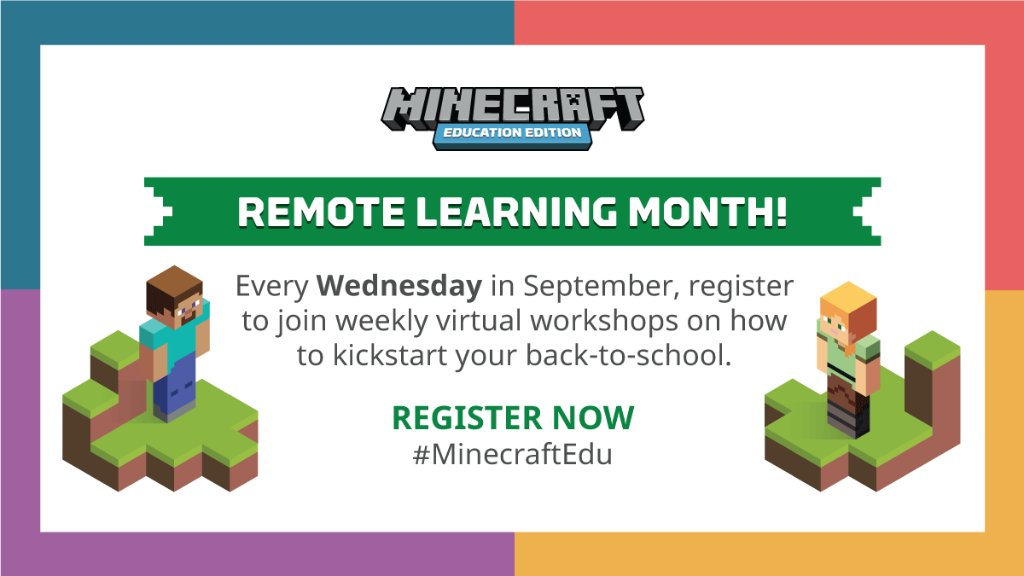 It's almost September, and we're helping our teachers prepare for #BackToSchool with #RemoteLearning Month, a weekly workshop designed to help educators spice up their lessons with #MinecraftEdu. #HybridLearning Register now: https://t.co/8NIKh0lERr https://t.co/HEeg8CDE3E