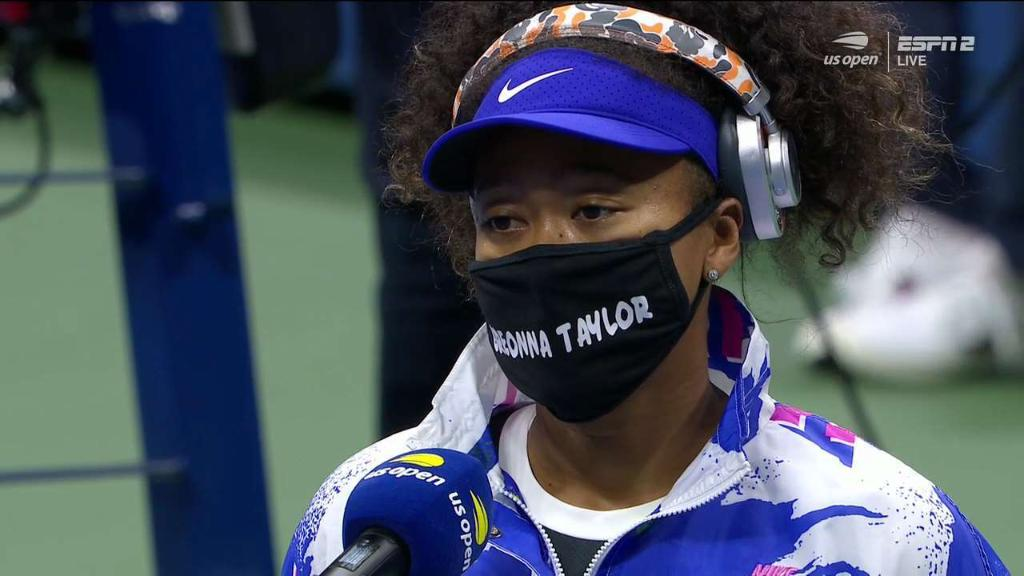 Naomi Osaka is wearing a Breonna Taylor mask before her match at the #USOpen