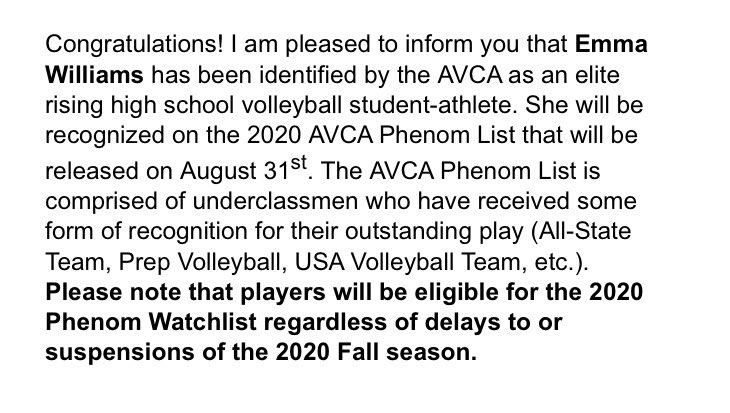 Congrats to @emmaaiisabella for being named to the 2020  AVCA Phenom Watchlist!!! Proud of you and your accomplishments! @brazoswoodvball @avatxvolleyball @sports191919 @vypehouston https://t.co/psj2PnTtn8