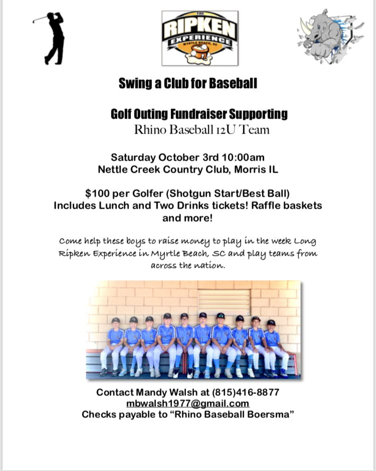 Golf anyone? Please consider supporting Rhino 12u at their Golf Outing on 10/3 at Nettle Creek in Morris, IL. Thanks! @RhinoBaseball