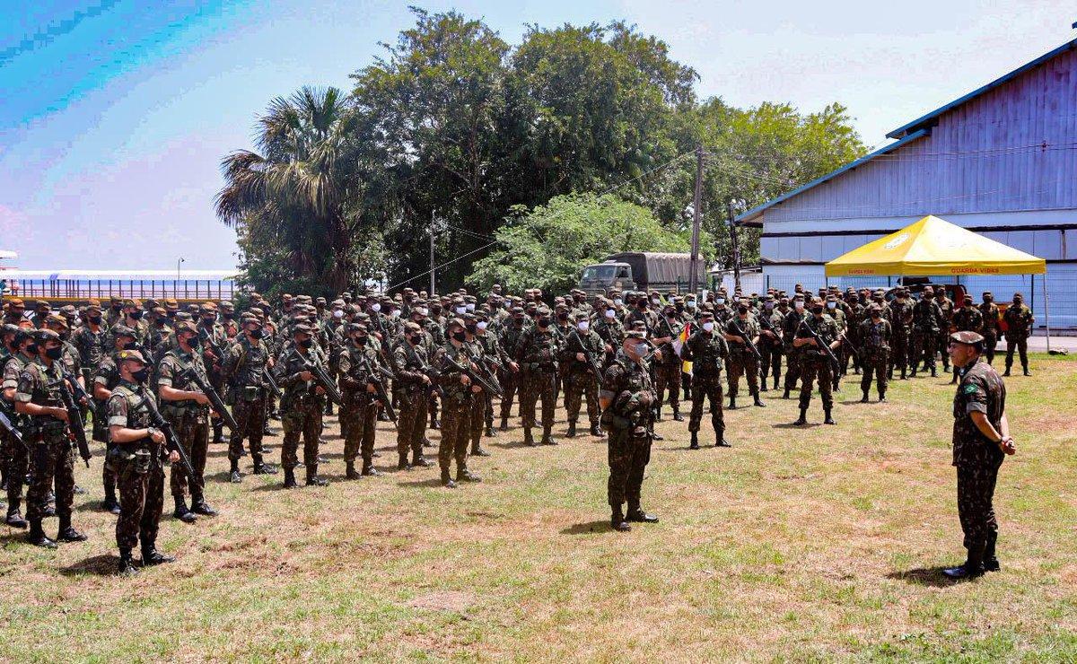 Meios da 23ª Brigada de Infantaria de Selva, Marabá/PA, e do 6º Grupo de Mísseis e Foguetes, Formosa/GO, seguiram para Manaus/AM no dia 27 de agosto. São meios de manobra, apoio de fogo, apoio logístico, engenharia e comunicações, que participarão da #OperaçãoAmazônia. Selva!!! https://t.co/Kd3k8pqKAs