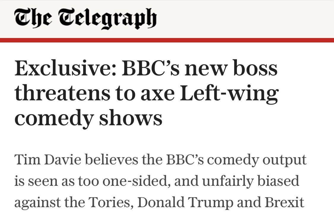 New BBC boss warns comedians not to joke about the government & its signature policy of brexit, and not to mock the Tories or Trump...   A chilling move to politicise entertainment shows and put them in the service of the ruling party.  https://t.co/CRAk3zPCdy https://t.co/iAHKosGGhP