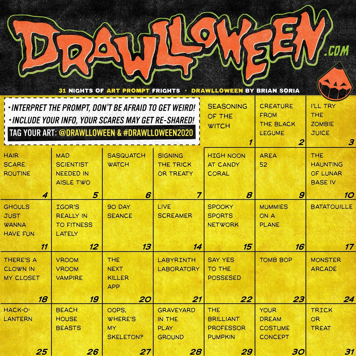 #DRAWLLOWEEN 2020✏️🎃 Scare up some art by interpreting the daily prompt from the calendar & make sure  to tag your work #Drawlloween2020 & @Drawlloween  Include your info clearly somewhere in your post!  Download calendar & a printer friendly version on