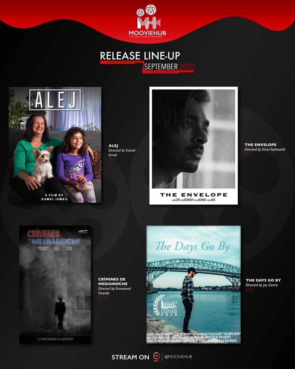 Going into this new month with More exciting shorts🔥🔥🔥 Here's what's new, and coming to our IGTV this September. Only on @mooviehub   #mooviehub #mooviehubandchill #filmmaking #indieshorts #igtv #bestshortfilms #director #cinematography #producing #motionpicture https://t.co/5RDID7OQXp