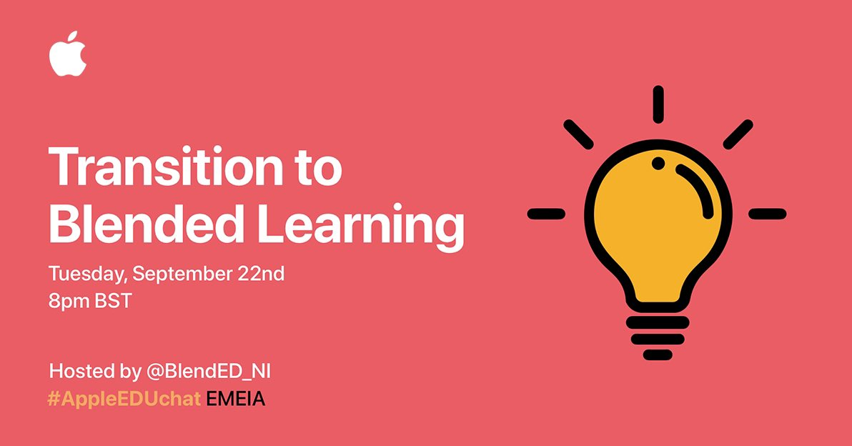 We are looking forward to hosting next week's #AppleEDUchat - focusing on blended learning, how it might look and how @AppleEDU technology and resources can support that journey. Join us then! https://t.co/FwX24eGiek