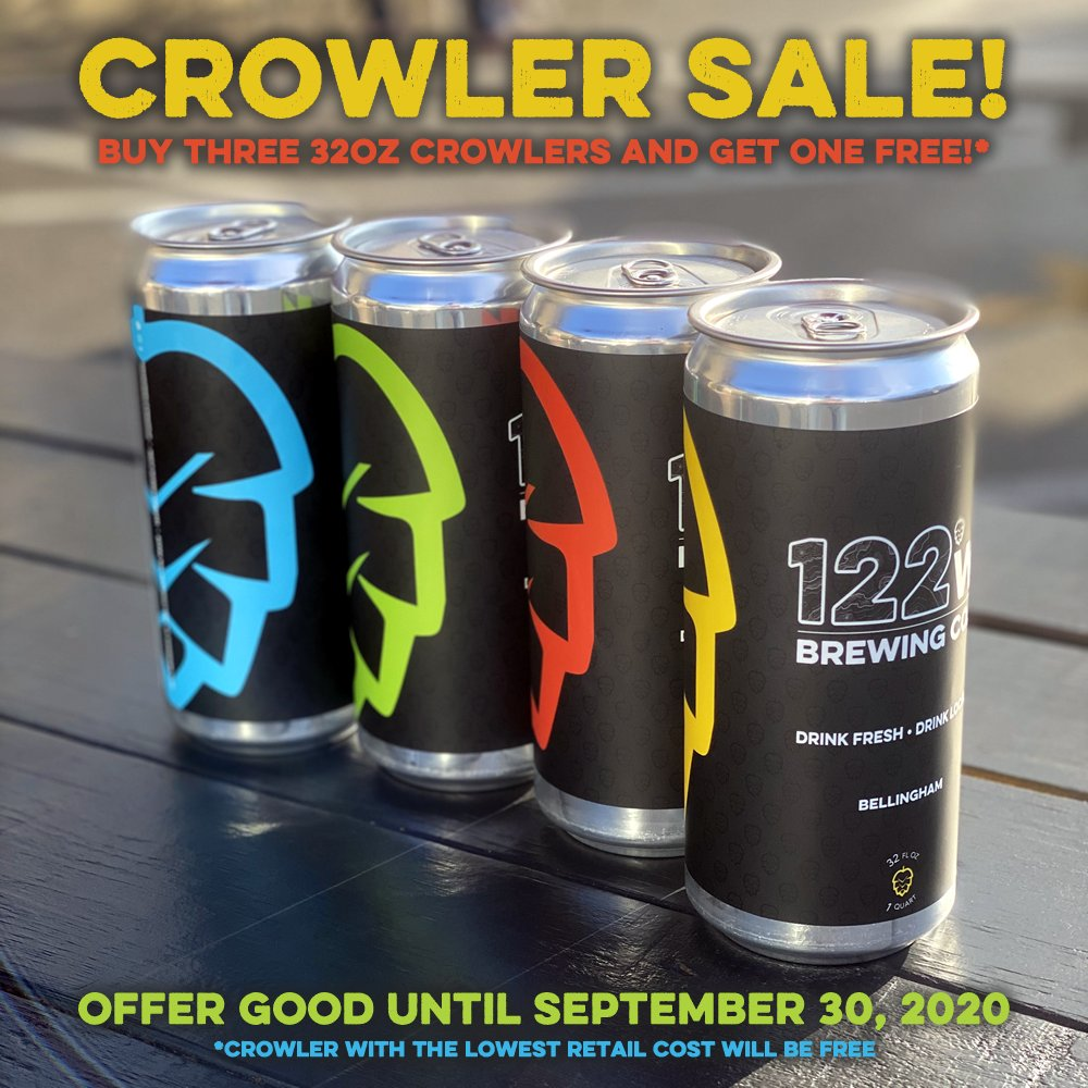 Crowler Sale!  Buy 3 and get 1 FREE! Good until the end of September 2020! #bellingham #craftbeer #crowlers 🍺🍺🍺 https://t.co/MvlNKeokUI
