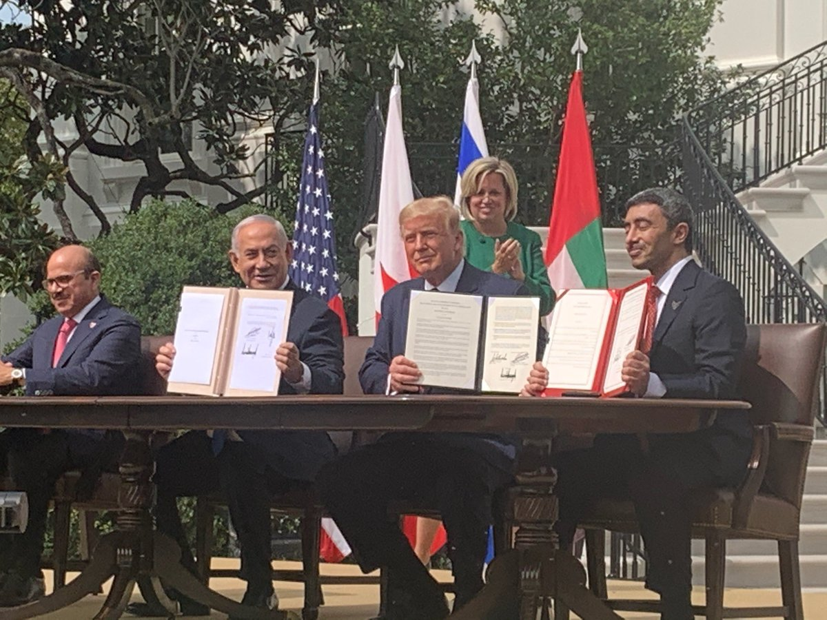 Peace prevails thanks to President @realDonaldTrump! 🇺🇸 🇮🇱 🇦🇪 🇧🇭 https://t.co/n1Rk5DDA9W