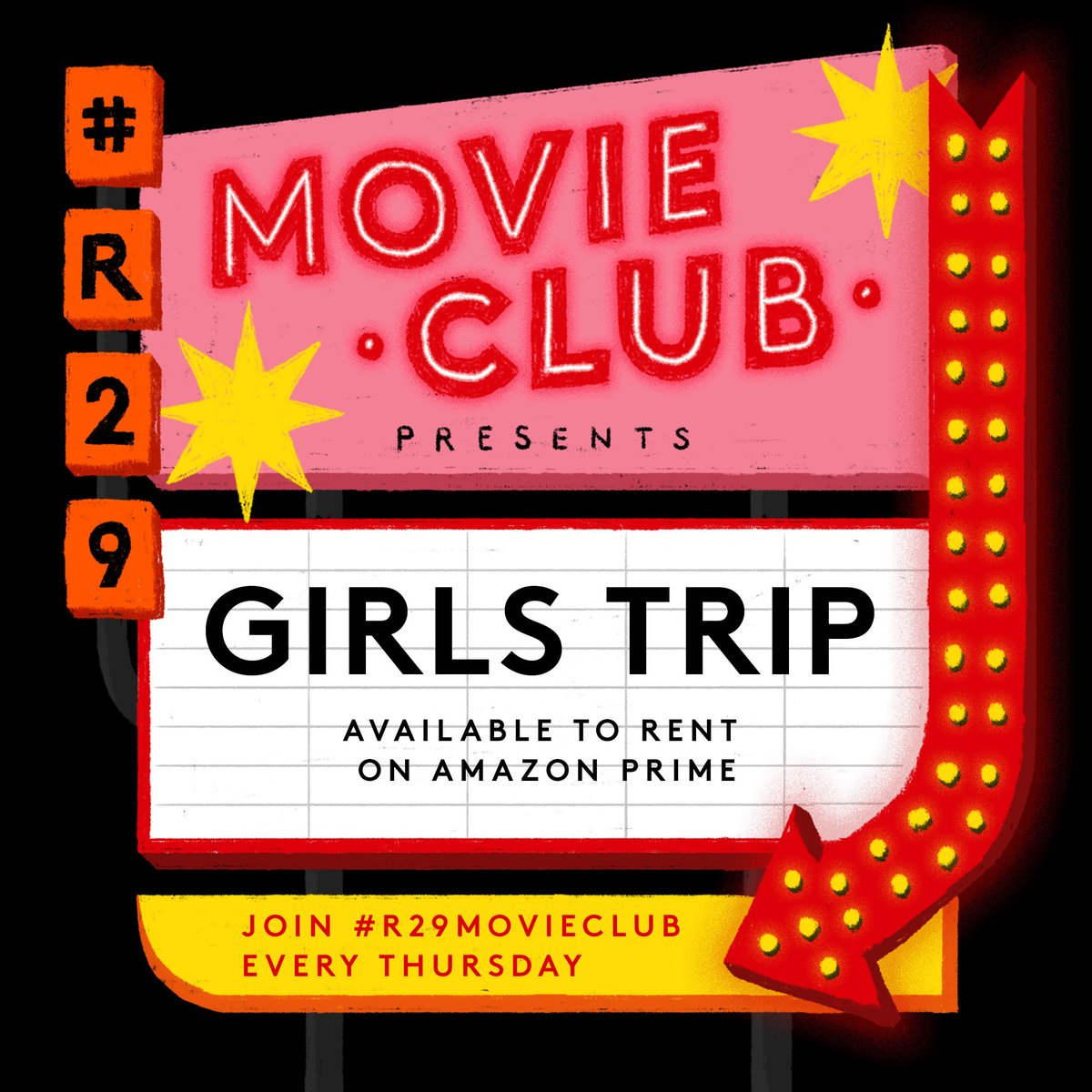 🎬 #R29MovieClub announcement ✨  Join us this Thursday 9/17 at 5PM ET for a rewatch of @girlstripmovie!   #R29Unbothered social media editor @venesajco will truly be taking us on a TRIP 🍿