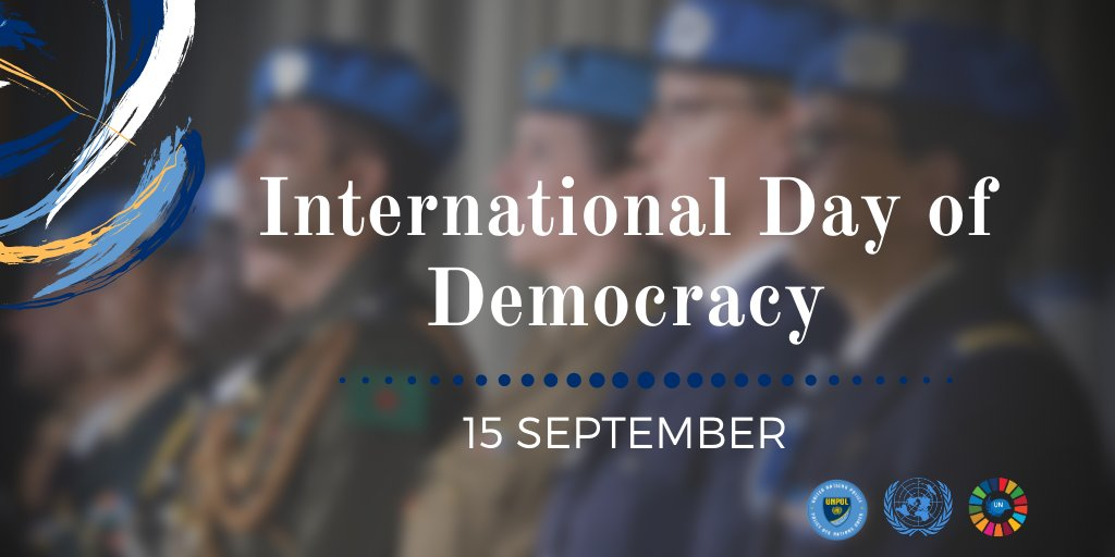 Happy #InternationalDemocracyDay! @UNPOL works to ensure every voice is heard by supporting peaceful electoral processes, upholding the rule of law and protecting human rights & fundamental freedoms. 🇺🇳👮‍♀️👮‍♂️ #A4P #DemocracyDay https://t.co/frpwrIBgFq