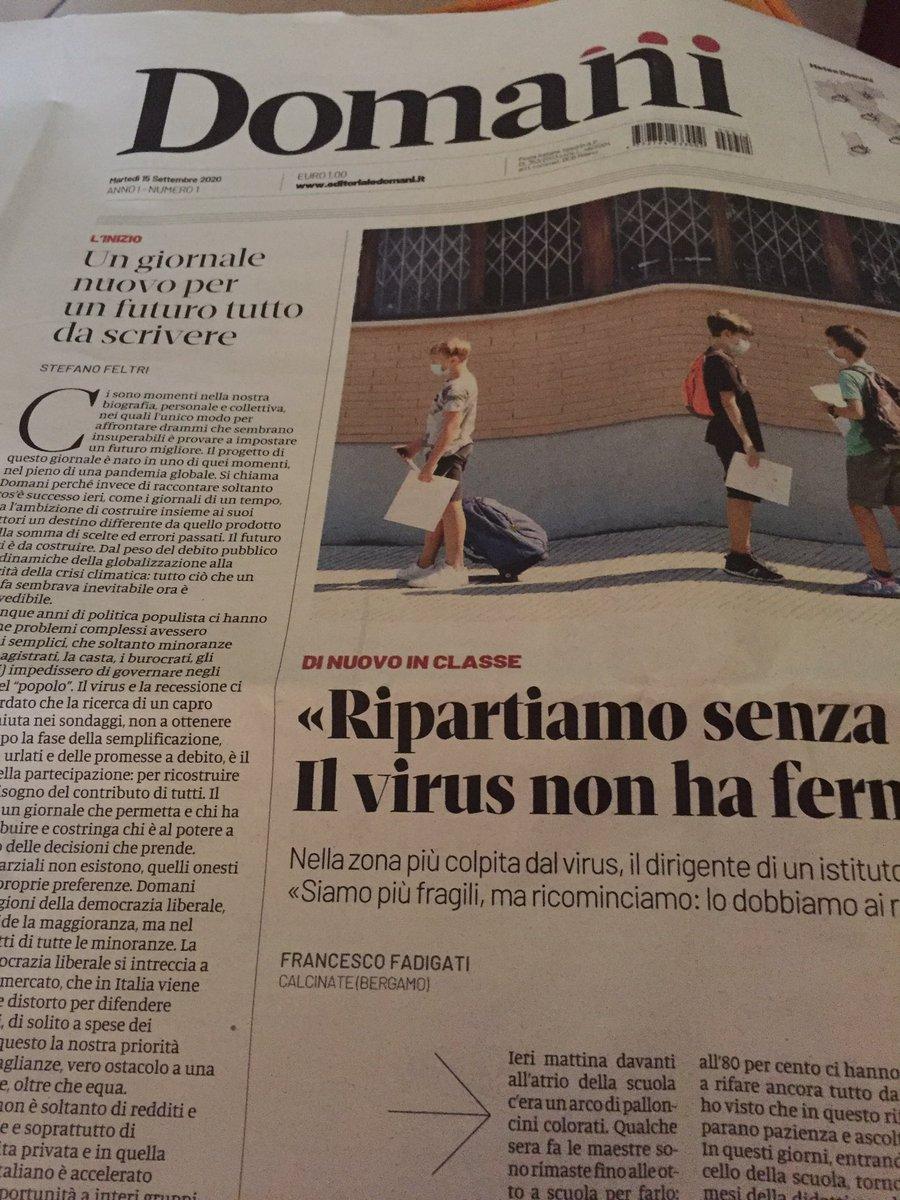 Sto leggendo il giornale diretto da Stefano Feltri , sembra buono @domanigiornale https://t.co/5HiuHOTGEq