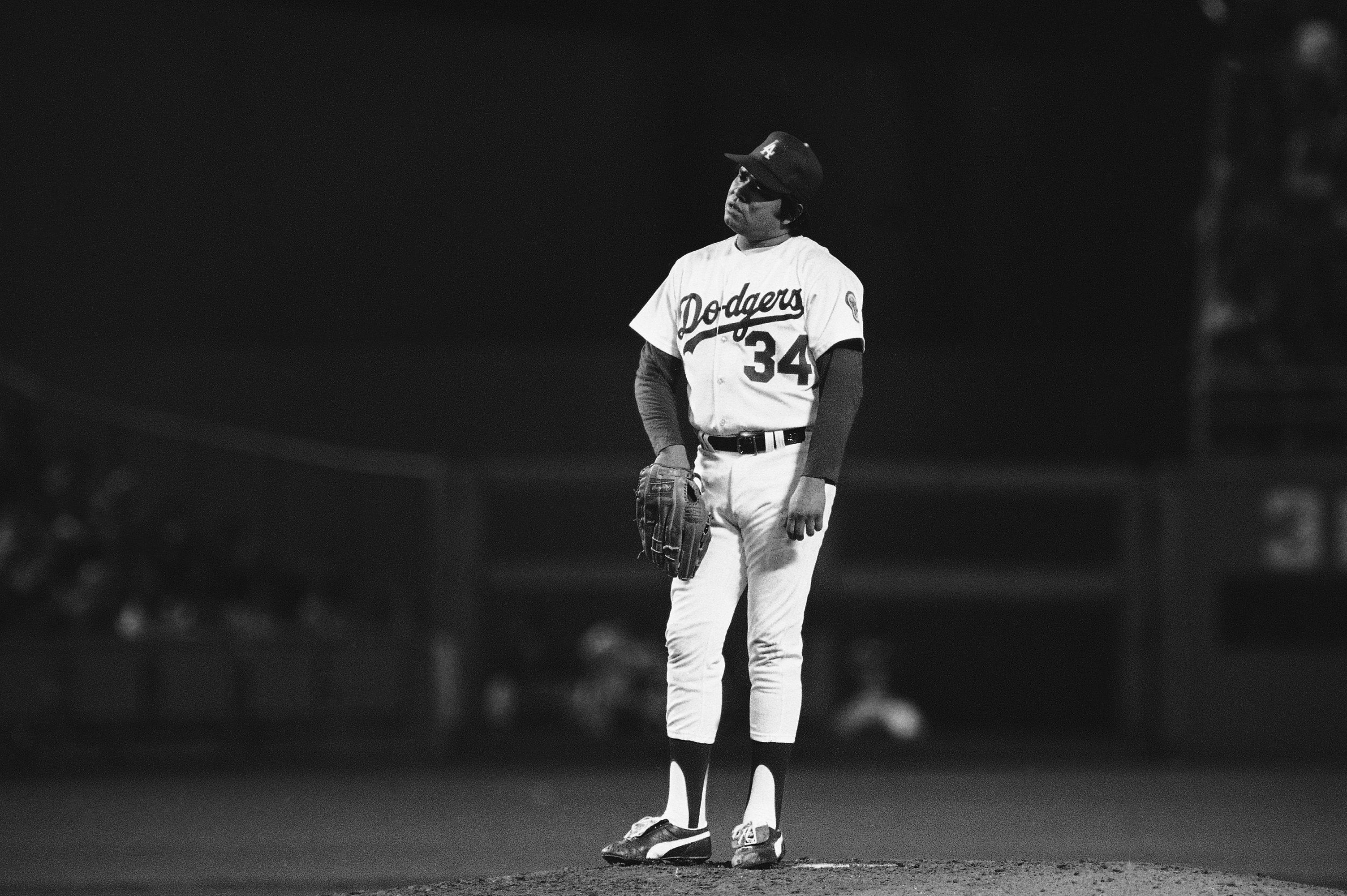 Fernando Valenzuela, de los Dodgers de Los Ángeles, durante un juego de la MLB