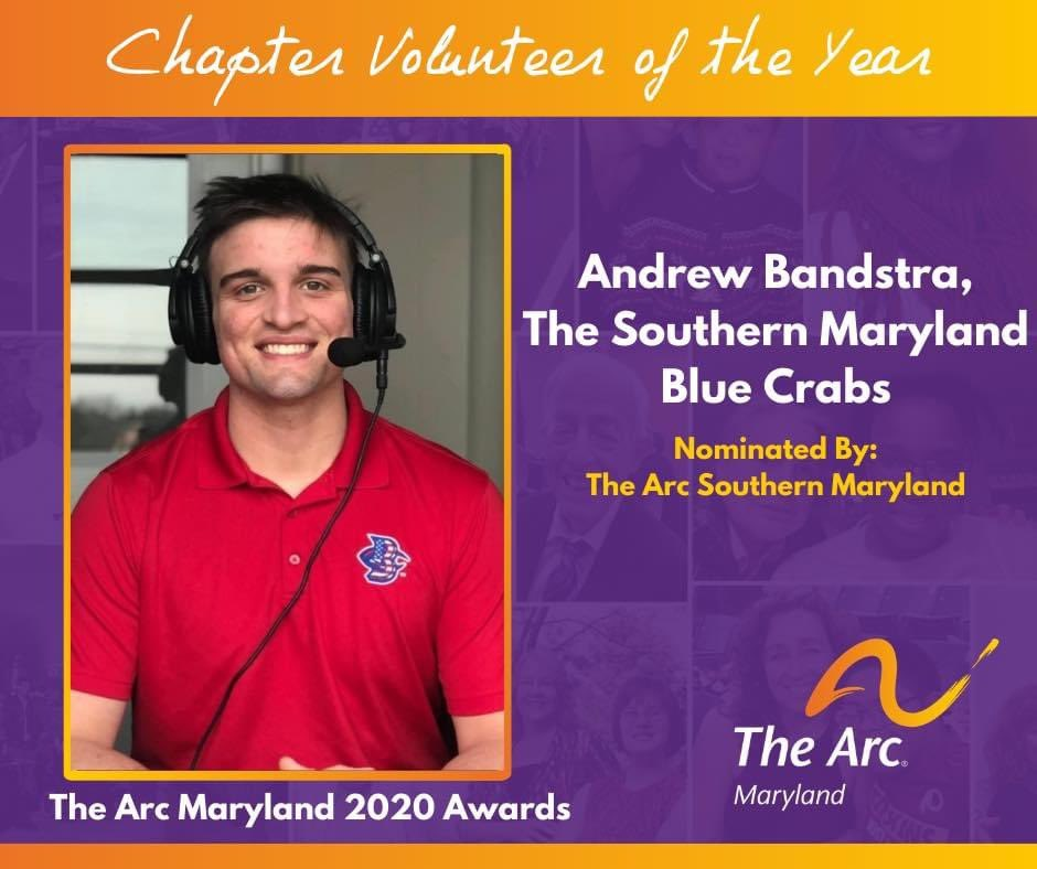 We are proud to be your hometown team, #SouthernMaryland and we are proud of our broadcaster, Andrew Bandstra for being named the @arcsomd Volunteer of the Year for all of his and the Blue Crabs work in the community! https://t.co/q6ZEqniXUw