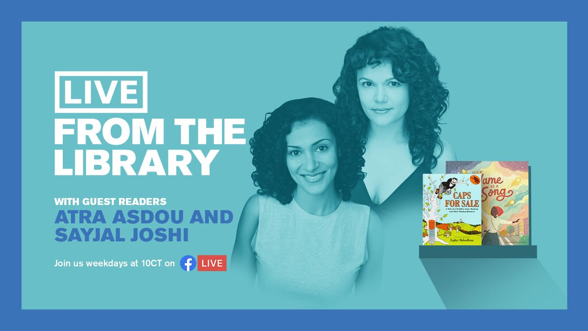 Tomorrow there's a Chicago actor double feature on #LiveFromTheLibrary! @AtraAsdou returns to read Caps for Sale by Esphyr Slobodkina and @TheSecondCity performer @SayjalJoshi reads Your Name Is a Song by @jtbigelow. As always, it's https://t.co/l9w9rofEsP at 10 AM to watch! 👍 https://t.co/ooHNDsRCS8