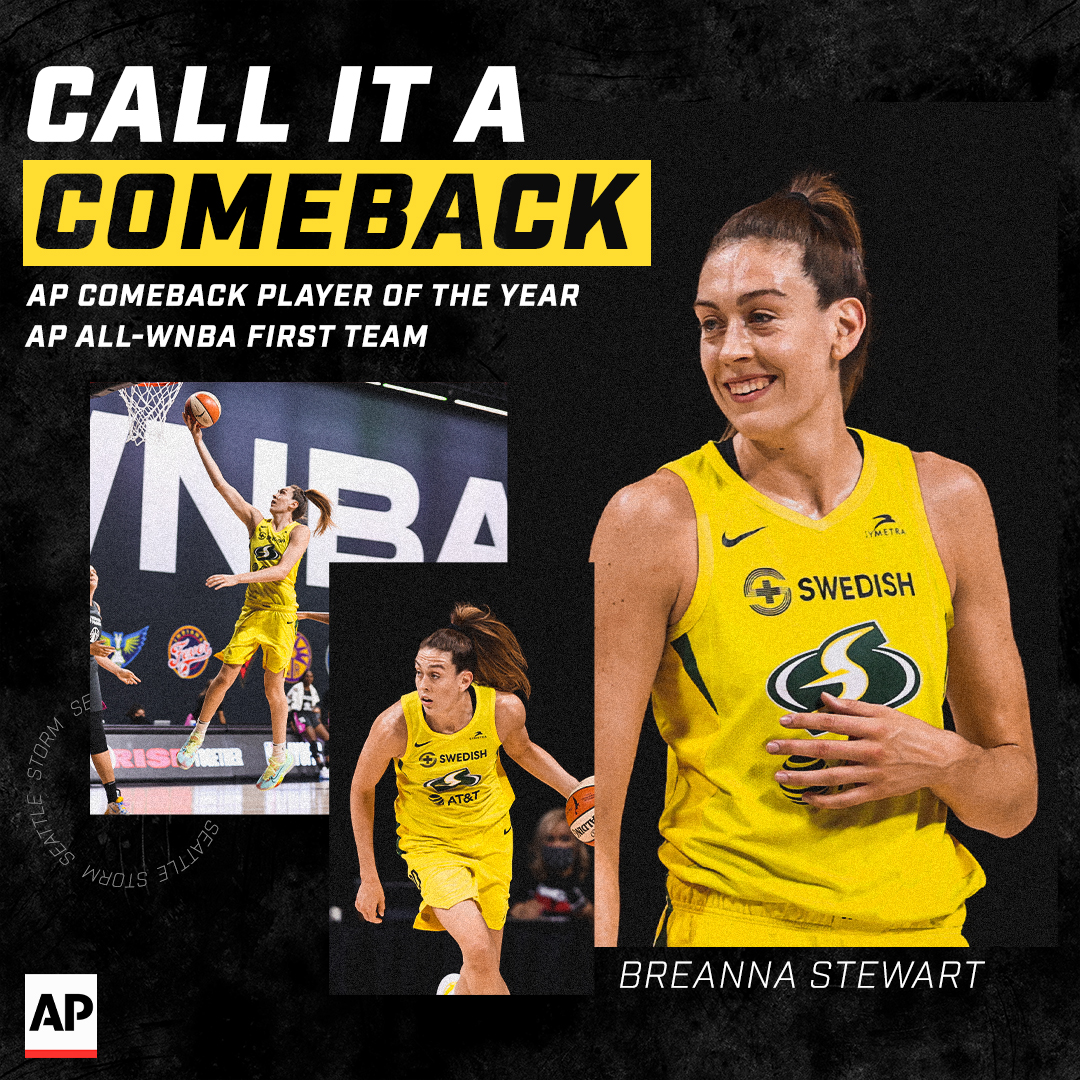 💪 𝘾𝘼𝙇𝙇 𝙄𝙏 𝘼 𝘾𝙊𝙈𝙀𝘽𝘼𝘾𝙆 💪  Big CONGRATULATIONS to @breannastewart on earning both @AP Comeback Player of The Year and All-WNBA First Team honors.  #StrongerThanEver https://t.co/MbAXhI0lFb