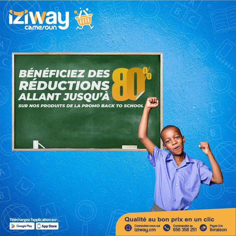 🚨 RÉDUCTIONS ALERT🚨  Bénéficiez des réductions allant jusqu'à 80% sur nos produits de la promo back to school.  Suivez simplement le lien 👉🏽 https://t.co/p7K1biWuLZ  #IziwayCameroun #izibacktoschool2020_2021#iziway #iziback2skul #rentree20202021 https://t.co/HqrYKrUKM3