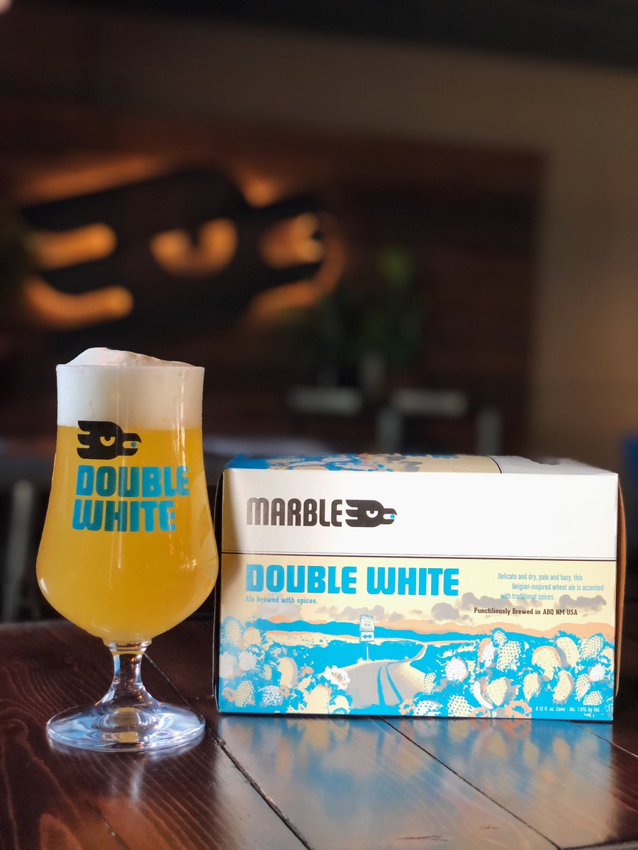 Don't forget the Double White! We've got $7 six-packs TODAY at all locations!  *no other discounts apply  #doublewhite #marblebrewery #craftbeer #abqbeer #nmbeer #belgianwit https://t.co/Soq9CIhT0f