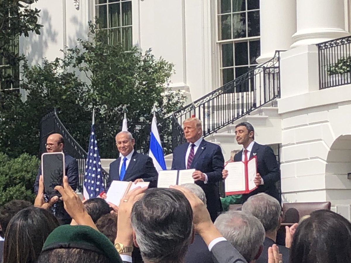 On the South Lawn of the White House, historic signing now.... #AbrahamAccords