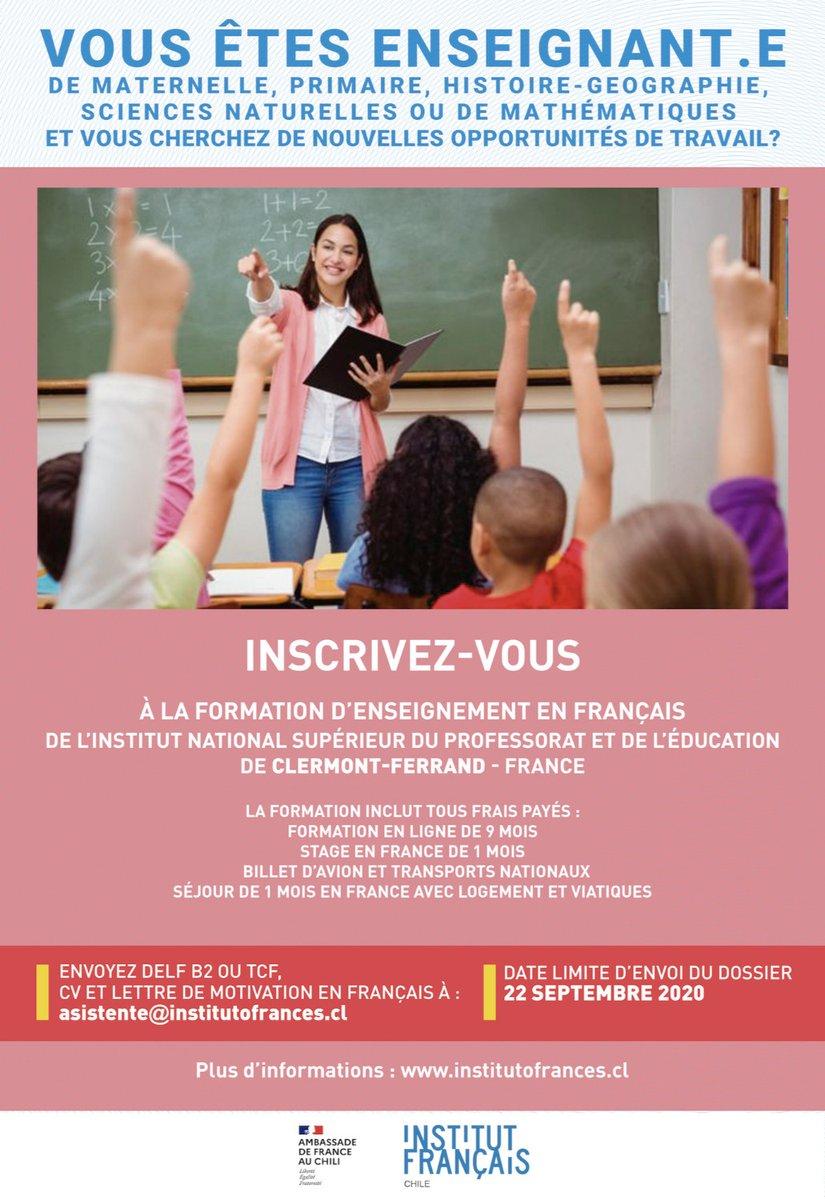 Vous êtes un.e enseignant.e https://t.co/ctSFR79jPP? 👨🏫👩🏫 Postulez avant le 22 septembre à la formation d'enseignement en français et élargissez vos horizons professionnels ! 🤩😎  Pour + d'informations 👉 https://t.co/ygFeuDSUbx   Organisé par @ambafrancecl @institutfran https://t.co/hDUX3mcADp