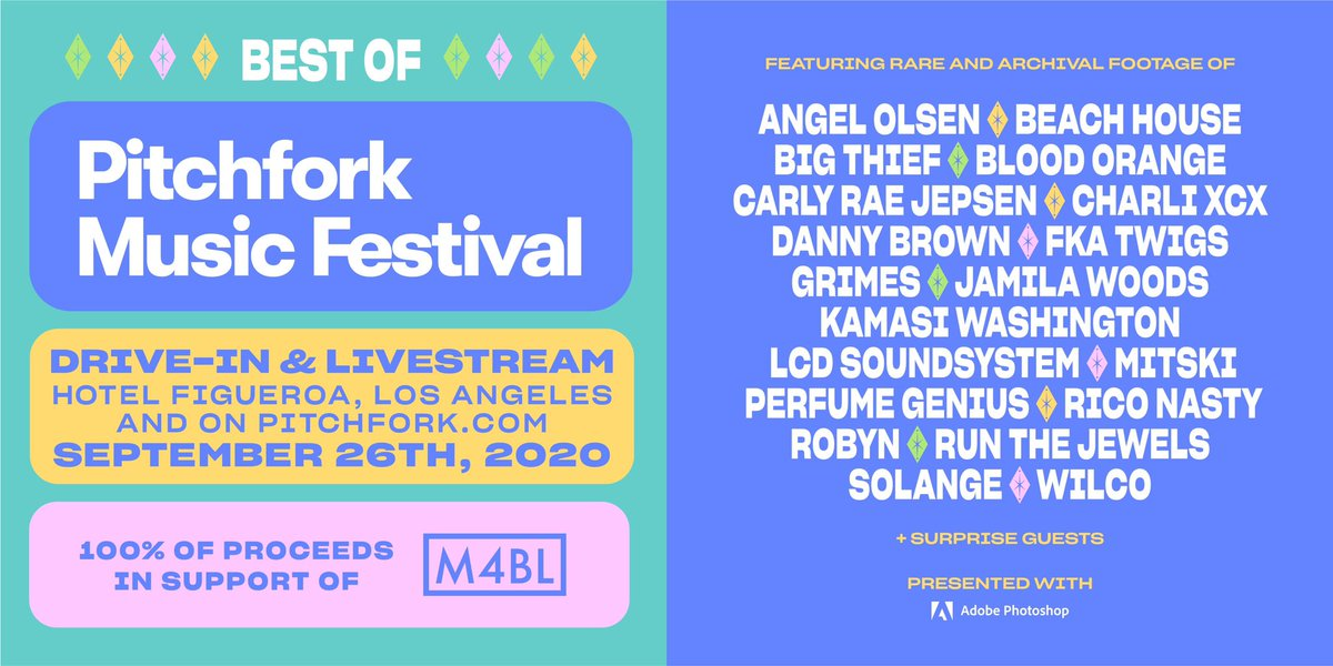 It's no substitute for headlining @pitchforkfest this year but to hold you over until we can- catch us on the The Best Of Pitchfork Music Festival on September 26th, drive-in in LA and streaming online!