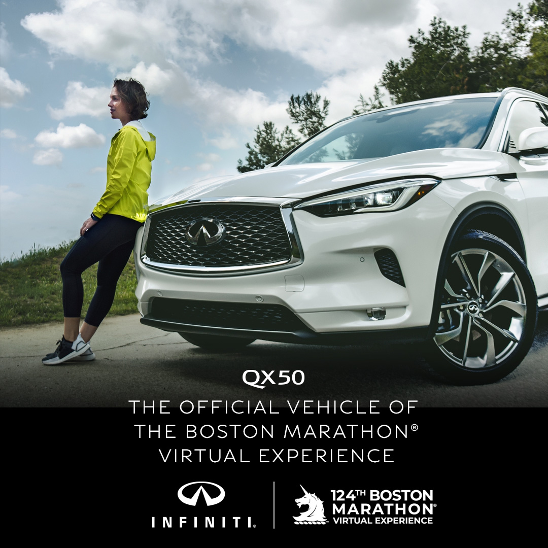 .@INFINITIUSA is a proud partner of the Boston Athletic Association and the official vehicle of the 124th Boston Marathon Virtual Experience. With INFINITI Now, service, test drives, leasing, and purchase come to you – just like this year's race. #QX50 #finishSTRONG https://t.co/HLzBn8Emj8