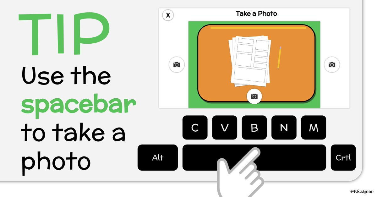 💡TIP - Use the spacebar to take a photo when using the camera in @Seesaw   @Seesaw @Google #seesawchat #GoogleEDU https://t.co/Or5X7cwxuH