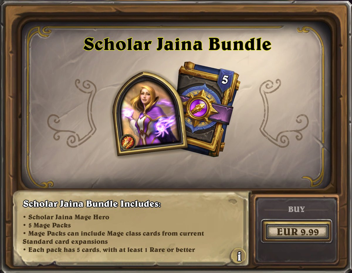 Hs Top Decks On Twitter Scholar Jaina Bundle 5x Mage Pack Scholar Jaina Cosmetic Hero Is Now Available In The Shop For 9 99 9 99 It Will Expire On September 21