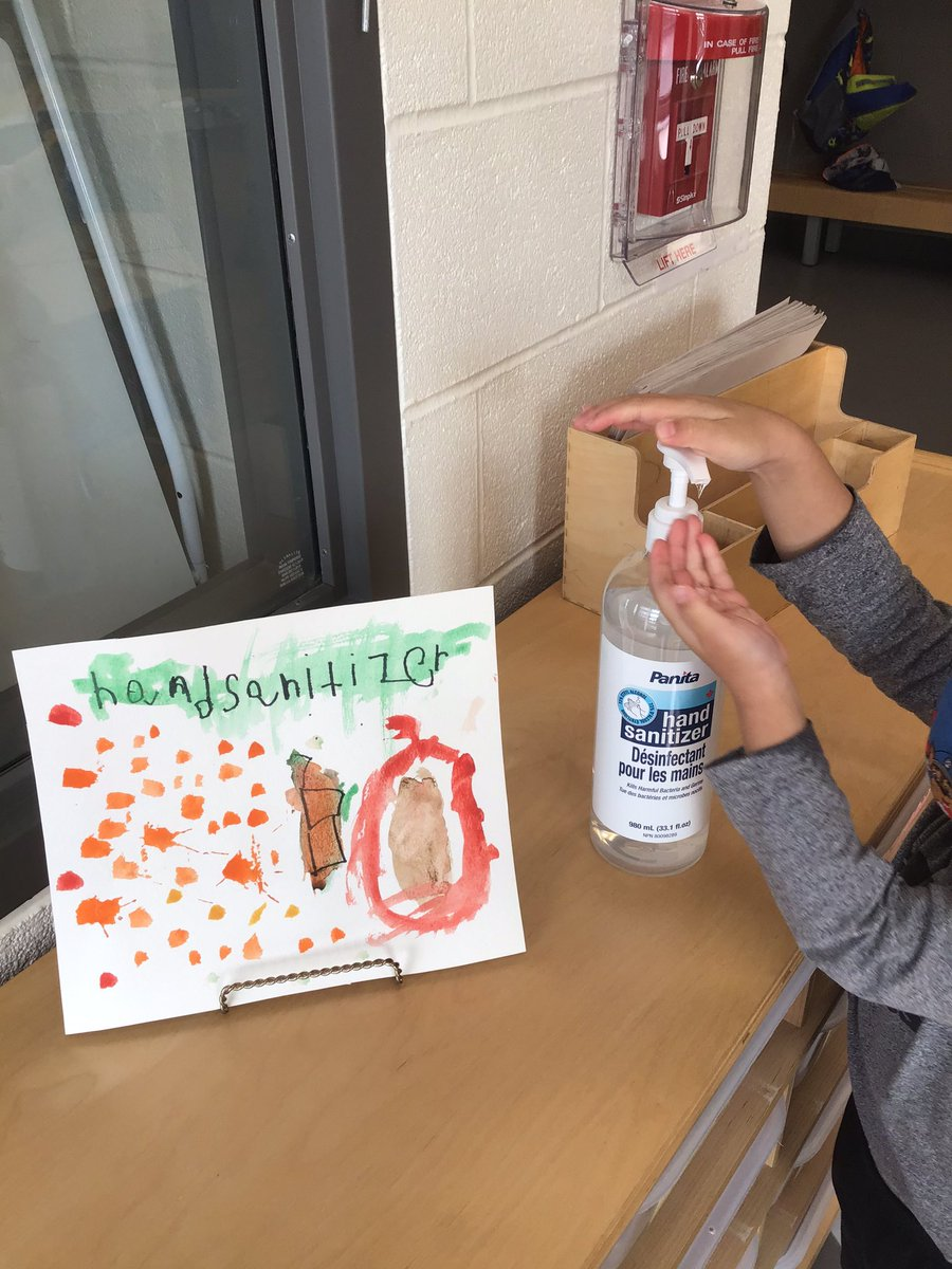 We made signs for our classroom! We always make sure to use hand sanitizer to protect ourselves and our classmates. #kindergarten #yrdsb https://t.co/mZkDYzvhw8