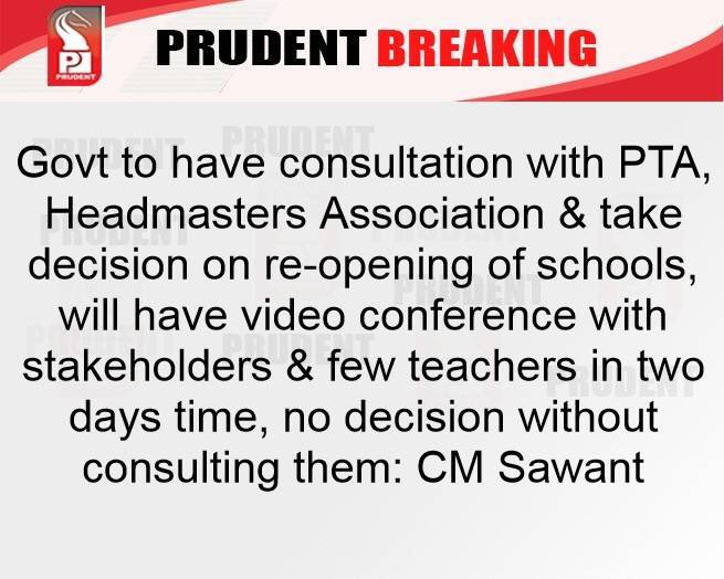 Request @GovtofGoa @goacm @DrPramodPSawant to consider School Managements also as one of the stakeholders, apart from PTAs & headmasters association & #teachers while considering #schoolsreopening.   @ShetSadanand @DhondSatish @BJP4Goa #Covid_19 https://t.co/YScrVklfBR