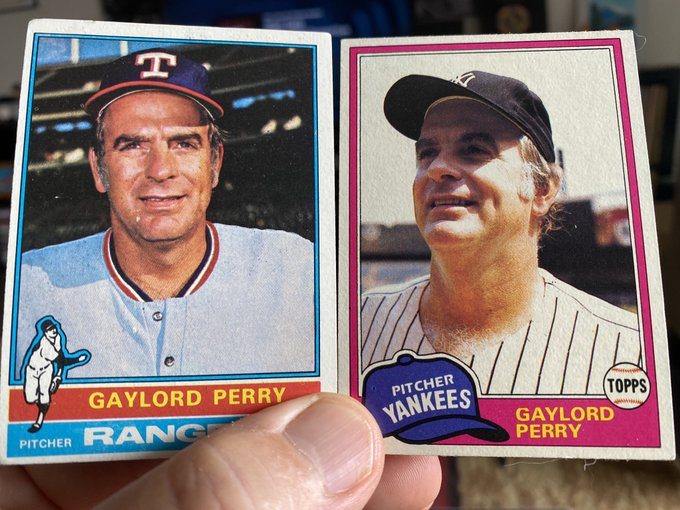 Happy 82nd birthday to Gaylord Perry. My two cards, later in his career. Wish I had some earlier ones.