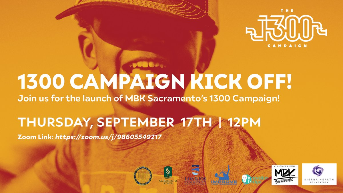 Save the date: The 1300 Campaign launches Thursday, Sept. 17! Learn more about this powerful initiative aimed at supporting youth of color in their educational goals and disrupting harmful practices and false narratives. Join us: https://t.co/ENhADLmZ27 https://t.co/igifyOJ4Nq