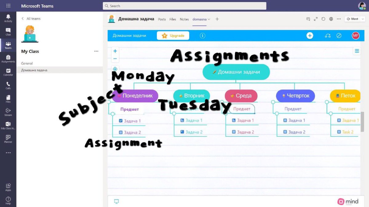 Weekly visual board on assignments and homework  @mindmeister integration with @MicrosoftTeams  #edtech #edchat #msftedu #msfteduchat #mieexpert https://t.co/akZ0q4AhOD