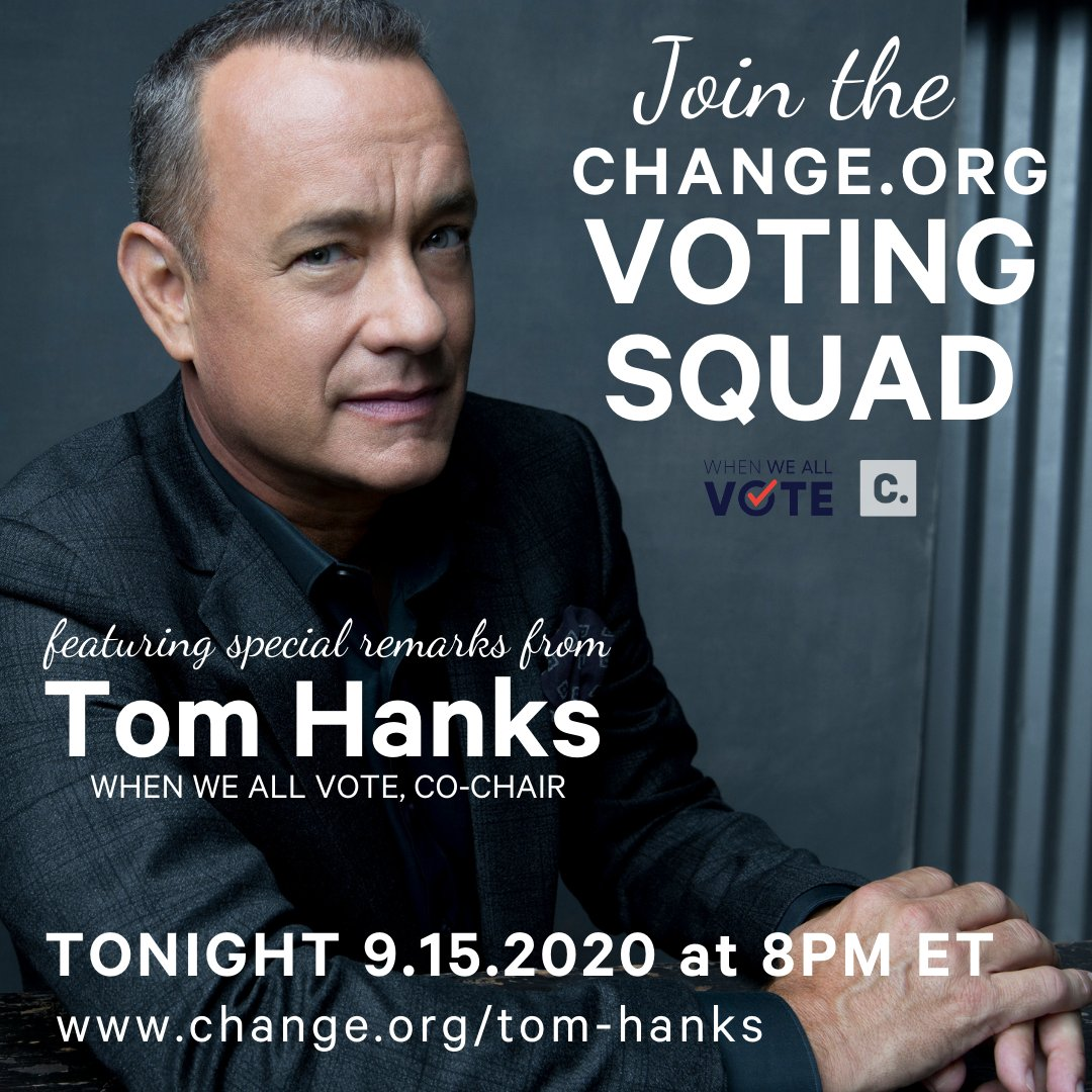Join the https://t.co/ncqnFwPAMH Voting Squad. Kickoff event starts at 8pm ET tonight with special remarks from Tom Hanks, When We All Vote Co-Chair. #election #vote #election2020 #ivoted Register here --> https://t.co/7HdNiqOCkV https://t.co/Mj1gqn0CRR