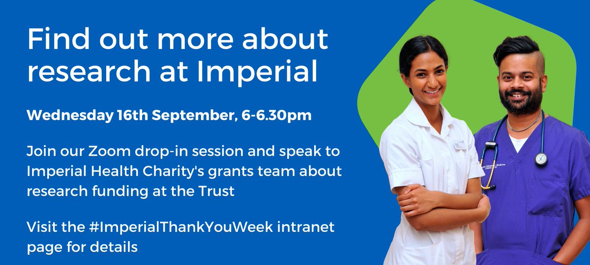 Starting a research fellowship can be a daunting experience. That's why we're holding a special drop-in session for #ImperialThankYouWeek.  Join us tomorrow and speak to a member of the grants team about how we can support your research journey.  https://t.co/rXboQOHMh0 https://t.co/DAnpS2v7sw