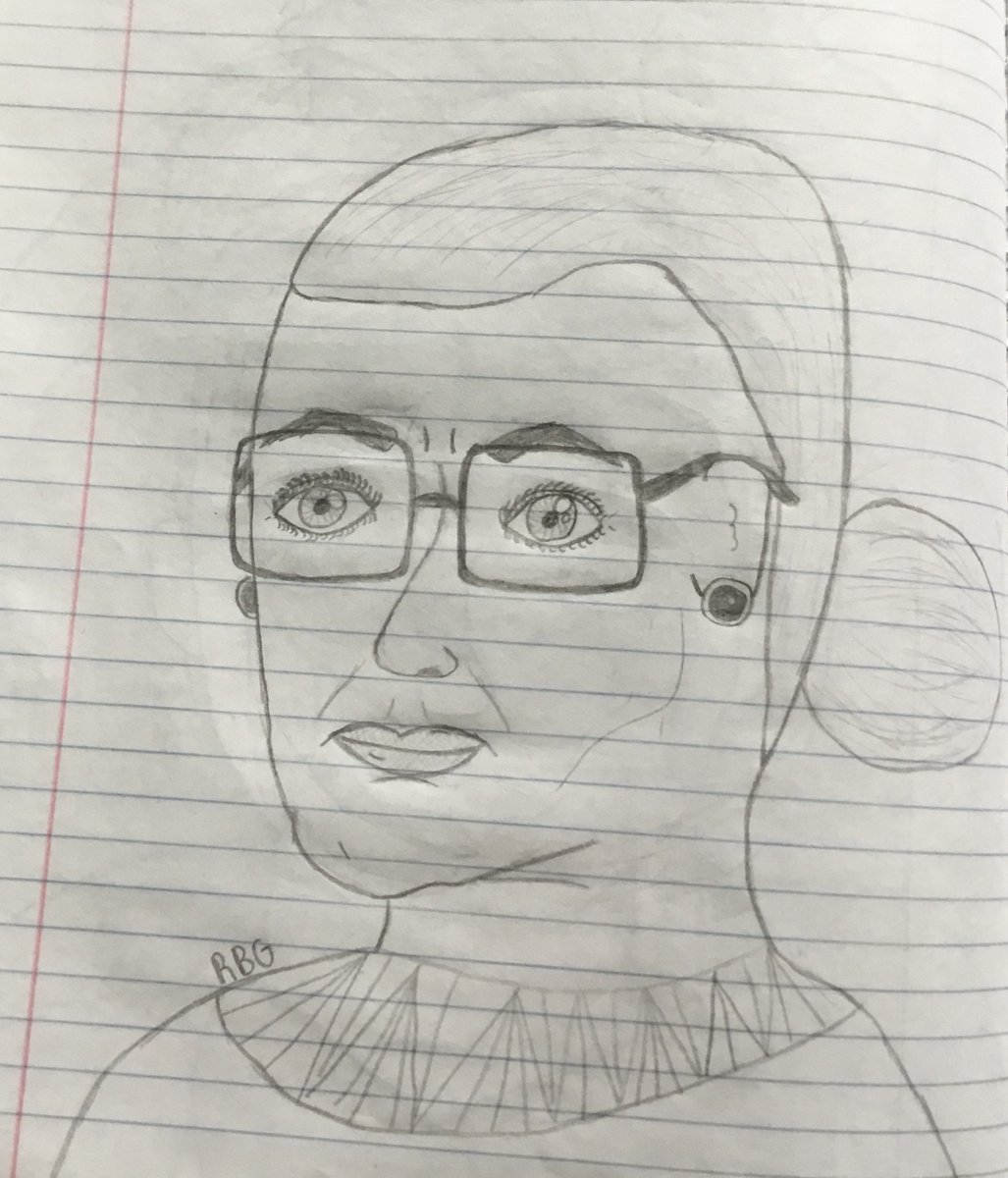 Check out this portrait a 5th grader made of Ruth Bader Ginsburg over the summer! <a target='_blank' href='http://search.twitter.com/search?q=padlet'><a target='_blank' href='https://twitter.com/hashtag/padlet?src=hash'>#padlet</a></a> <a target='_blank' href='http://twitter.com/APSArts'>@APSArts</a> <a target='_blank' href='http://twitter.com/APS_FleetES'>@APS_FleetES</a> <a target='_blank' href='https://t.co/zlh9iai8Ez'>https://t.co/zlh9iai8Ez</a>