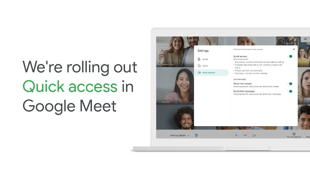 We're rolling out new #GoogleMeet controls! With Quick access enabled, participants in the same domain as the host don't need to knock to request to join a meeting. Learn more: https://t.co/JXBpZHmNbW https://t.co/LWOutWIc0G