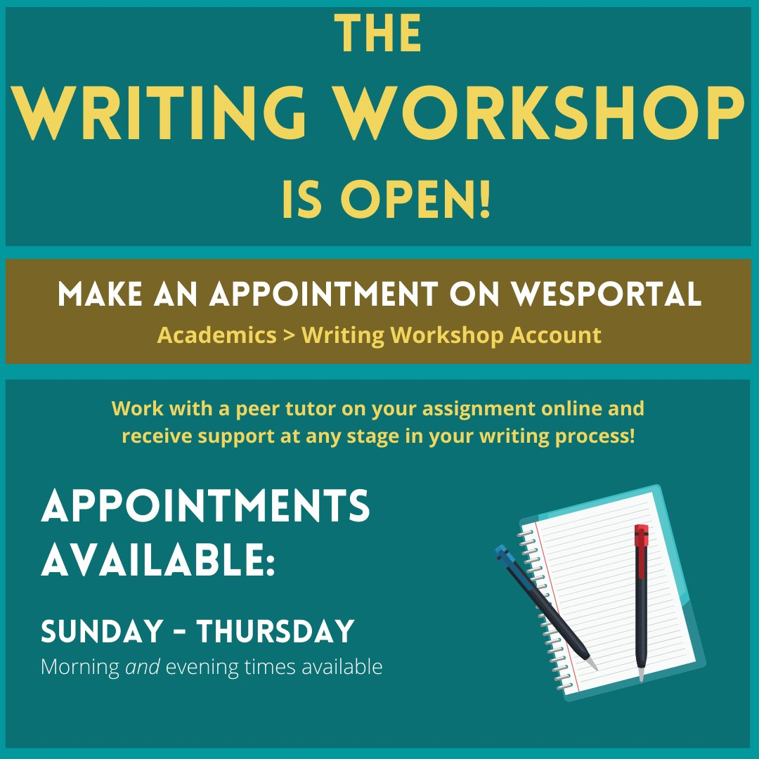 test Twitter Media - Have you made your Writing Workshop appointment yet? 📝✍️  Wesleyan students can sign up to meet online with a peer tutor to help at any stage of their writing process! Students can sign up for an appt. on their Writing Workshop Account via the Academics tab of WesPortal. https://t.co/p5NtLBTlZB